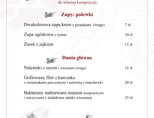 Menu Lunch 10 – 16 maja